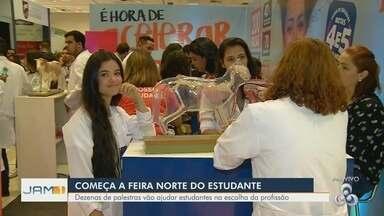 Feira Norte do Estudante vai até sexta (28) com atividades gratuitas, em Manaus - Evento conta com dezenas de palestras e troca de experiências entre profissionais e estudantes.