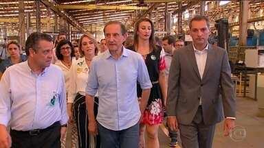Paulo Skaf faz campanha no Centro-Oeste paulista - Candidato do MDB prometeu investir no Porto Intermodal