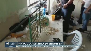 Guarda Municipal encontra local clandestino de banhos em bijuterias em Limeira - Os quatros suspeitos ainda não foram localizados. Análise dos produtos será realizada pela Secretaria do Meio Ambiente e Cetesb.