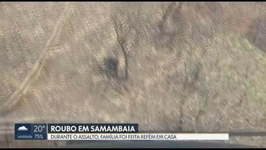 Polícia prende dois suspeitos de assalto em Samambaia - Família foi feita refém durante o roubo. Suspeitos foram encontrados num matagal em Samambaia e estavam depenando o carro das vítimas. Vários objetos também foram encontrados com eles.