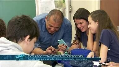 """Escola discute """"fake news"""" e o poder do voto - Projeto leva para as sala de aula temas importantes na eleição."""