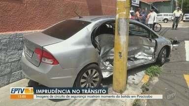 Imagens mostram momento de batida entre caminhonete e carro, em Piracicaba - Motorista apresentava sinais de embriaguez e avançou sinal vermelho. Acidente aconteceu no Bairro Alto, na quinta-feira (4).