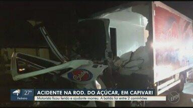 Acidente entre caminhões deixa um ferido e um morto, na Rodovia do Açúcar, em Capivari - Motorista ficou ferido e ajudante morreu.