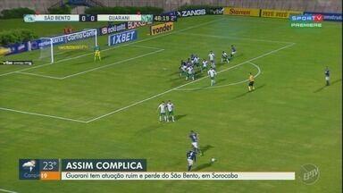 Guarani tem atuação ruim e perde para o São Bento, em Sorocaba - O Guarani teve uma atuação ruim perdeu pelo placar de 1 a 0 para o São Bento, no estádio Walter Ribeiro, em Sorocaba.