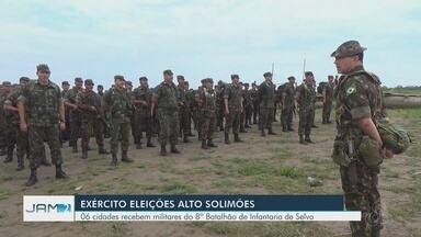 Exército reforça segurança no Alto Solimões no AM, região de tríplice fronteira - Militares ajudam a Justiça Eleitoral na segurança dos locais de votação e no patrulhamento nas ruas.