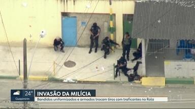 Milicianos fortemente armados trocam tiros com traficantes em Santa Cruz - Moradores das comunidades do Rola, Antares e Cesarão viveram momentos de terror. A troca de tiros afetou, inclusive, o funcionamento do BRT.
