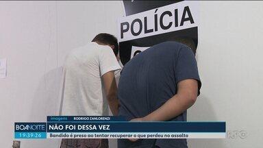 Bandidos são presos quando tentavam pegar de volta o que perderam em assalto - Durante o assalto, um dos bandidos deixou cair o celular, que foi parar nas mãos da polícia.
