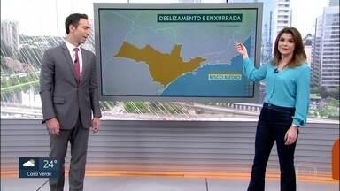 Quarta-feira tem previsão de chuva forte e risco de enxurrada e deslizamento - Véspera de feriado terá céu encoberto e chuvoso na Grande São Paulo e no litoral.