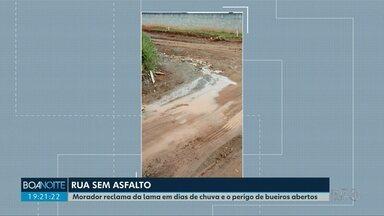 Morador reclama da condição das ruas de Prudentópolis - Segundo ele, quando chove o local fica pura lama.