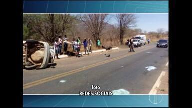 Homem morre após colisão entre moto e carro na MG-122, entre Monte Azul e Mato Verde - Motorista do carro foi lançado para fora do veículo após capotamento; motociclista teve múltiplas fraturas e foi socorrido.