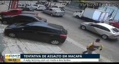 Vídeo mostra homem armado atrás de bandido após tentativa de roubo em Macapá, no AP - Situação ocorreu em frente a uma agência bancária, nesta segunda-feira (15), no bairro Buritizal