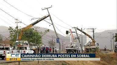 Caminhão derruba postes em Sobral - Saiba mais em g1.com.br/ce