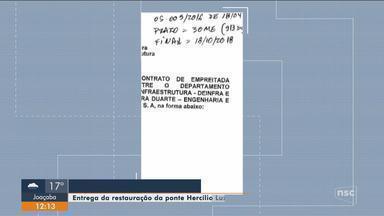 Conclusão da Ponte Hercílio Luz deveria ser entregue nesta quinta (18); obras continuam - Conclusão da Ponte Hercílio Luz deveria ser entregue nesta quinta (18); obras continuam