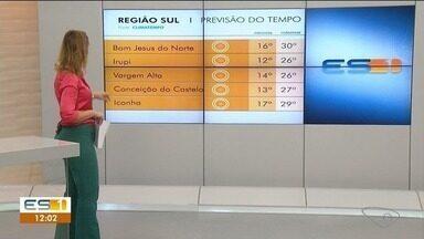 Confira a previsão do tempo no sul do ES - Veja como está o clima na região.
