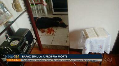 """Rapaz simula a própria morte em Campo Mourão - Ele espalhou fotos """"do próprio corpo"""" em grupos de mensagens."""