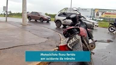Costureira e verdureiro ficam feridos em acidentes em Campo Grande - Mulher estava em moto e idoso empurrava carrinho com verduras.
