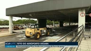 Parte do teto do aeroporto de Foz do Iguaçu desaba e fere passageira - Mulher, que desembarcava de um carro no acesso ao terminal de passageiros, foi atendida e liberada para embarcar; área precisou ser interditada.