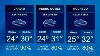 Confira a previsão do tempo para essa sexta-feira (26) - Previsão de chuva em todas regiões de MS.