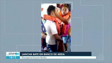 Lancha bate em banco de areia no Rio Solimões e deixa passageiros feridos, no AM - Idosa e crianças tiveram ferimentos. Embarcação seguia para Manaquiri, na tarde deste sábado (27).