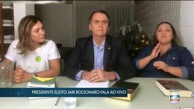 Presidente eleito Jair Bolsonaro faz seu primeiro pronunciamento após resultado - O presidente eleito Jair Bolsonaro (PSL) fez seu primeiro pronunciamento após o resultado das eleições 2018 pela internet.