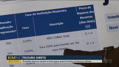 Grandes bancos zeram a taxa para quem investe no tesouro direto - A repórter Mônica Carvalho explica como funciona esse tipo de investimento.