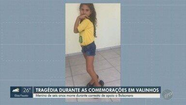 Menina de seis anos morre durante carreata de apoio a Bolsonaro, em Valinhos - Criança estava em cima de carreta e foi prensada por uma máquina presa ao veículo.