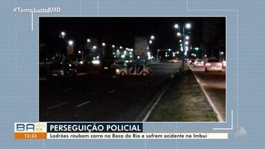 Perseguição policial e troca de tiros causam pânico nos bairros da Boca do Rio e Imbuí - O crime começou após dupla de assaltantes fazer arrastão. Após a ação policial, um dos assaltantes morreu e outro foi preso.