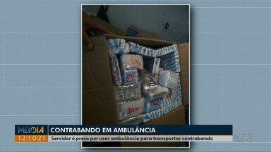 Duas pessoas são presas transportando medicamentos contrabandeados em ambulância - A ambulância é do município de Rio Negro, um dos presos é servidor da prefeitura municipal.
