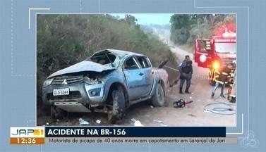Carro capota e deixa um morto e seis pessoas feridas no interior do AP - Uma das vítimas é defensor público, que está em estado grave. Acidente aconteceu no domingo (28), em Laranjal do Jari.