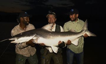 Piraíba no rio Araguaia - Aventura da pescaria surpreende com peixão de quase 2 metros.