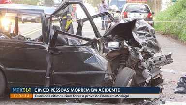 5 pessoas morrem em acidente - Duas da vítimas ia para Maringá fazer o exame do ENEM.