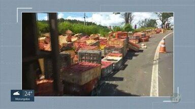 Motorista fica ferido após carreta com galinhas tombar em rodovia de Jaguariúna - Acidente ocorreu na João Beira (SP-095), na tarde desta segunda-feira (12).