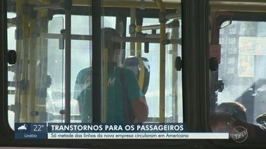 Passageiros enfrentam problemas de atraso e falta de linhas de ônibus em Americana - Nova empresa responsável pelo serviço começou a operar nesta segunda-feira (12).