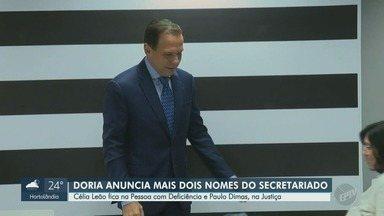 João Doria anuncia novos nomes para Secretarias da Justiça e da Pessoa com Deficiência - Célia Leão e Paulo Dimas foram escolhidos para ocupar as pastas.