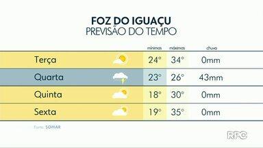 Terça-feira (13) será de Sol na região de Foz do Iguaçu - Máxima prevista é de 34° na fronteira.