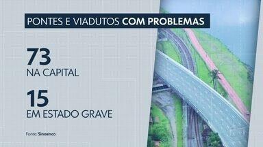 Pesquisa alertou para problemas em viadutos da capital - A pesquisa, feita há pouco mais de um ano, apontou que 73 viadutos e pontes de São Paulo tinham falhas em estruturas.