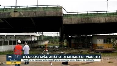 Plano para consertar o viaduto ainda não foi definido - Engenheiros e técnicos da prefeitura vão fazer uma análise detalhada da estrutura.