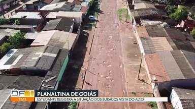 Buraqueira em Planaltina de Goiás deixa ruas intransitáveis - A quantidade de buracos prejudica pedestres, comerciantes e o transporte público. Prefeitura que recém assumiu promete obras emergenciais.