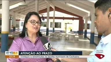 Rematrículas começam em escolas municipais de Cachoeiro de Itapemirim - Plantão será realizado para os responsáveis realizarem a rematrícula.