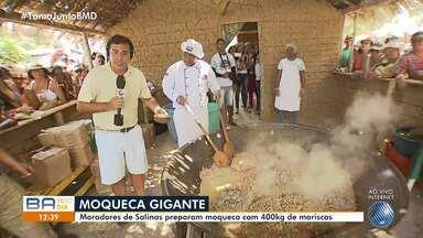 Moradores de Salinas da Margarida se unem para cozinhar moqueca com 400 quilos de marisco - Festa tem apresentações de dança, música e faz uma celebração da cultura regional.