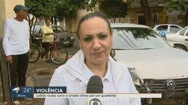 Mulher fica com blusa presa ao carro e é arrastada durante assalto em Ribeirão Preto - Técnica de enfermagem havia deixado filho e a mãe em escola no bairro Ipiranga, quando foi rendida pelo ladrão armado com uma faca.