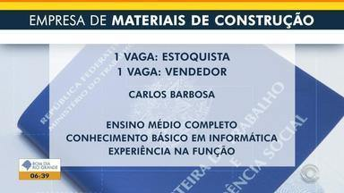 Empresa do ramo de materiais de construção oferece vagas de emprego em Carlos Barbosa - Veja os benefícios e como participar da seleção.