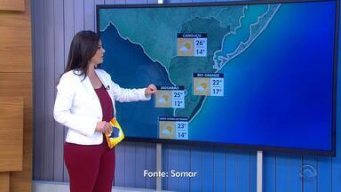 Tempo: Região Sul tem temperatura máxima de 26ºC nesta segunda-feira (26) - Há previsão de mar agitado para os litorais Sul e Norte do RS.