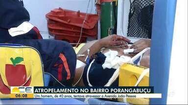 Home é atropelado na Av. João Pessoa, em Fortaleza - Testemunhas disseram que a vitima estava bebendo em um bar quando resolveu atravessar a avenida fora da faixa e foi atingido pelo carro.