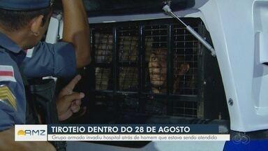 Tiros causam pânico dentro do Hospital 28 de Agosto, em Manaus - Um paciente, que era alvo dos invasores, foi baleado e transferido, segundo a Secretaria de Saúde. Três homens foram presos. Um dos suspeitos ficou ferido durante ação policial.