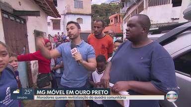 População quer espaço de lazer em Ouro Preto e pede ajuda ao MG Móvel - A quadra comunitária foi interditada por vários problemas. Quem conta esta história é o repórter Vladimir Vilaça.