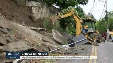 Niterói tem novos deslizamentos, duas semanas após tragédia que deixou 15 mortos - Na Região Metropolitana, Niterói foi onde mais choveu. A cidade mal se recuperou de uma tragédia provocada pela chuva já está enfrentando transtorno de novo. Uma das regiões mais afetadas é Charitas.