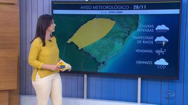 Tempo: chuva se espalha pelo RS e temperaturas chegam aos 30ºC nesta quarta (28) - Há possibilidade de temporal em algumas regiões.