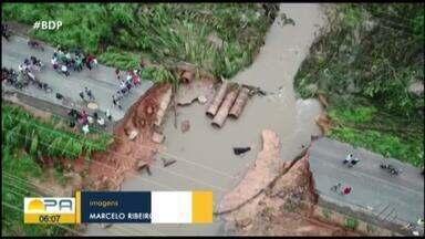 Chuva forte causa estragos em Redenção, no sul do Pará - Parte da BR-158 foi levada pela correnteza de rio. Casas ficaram alagadas.