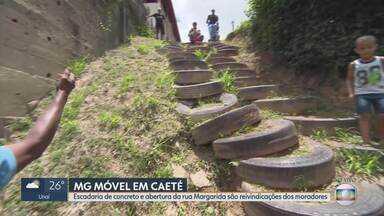 MG Móvel volta a Caeté para conferir obras em escadaria improvisada - Prefeitura apresentou um projeto para a rua Margarida, mas alegou falta de verba para realizar a obra. Nova data foi marcada, com moradores, para o fim de março de 2019.